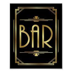 #Art Deco BAR Sign Print - #deco #gifts