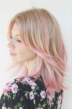 pictures of dirty blonde hair with pink highlights