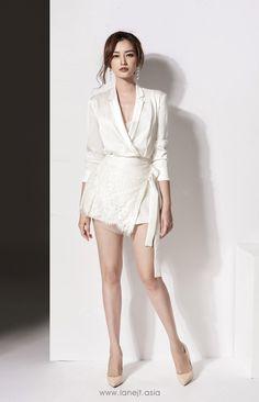 Fashion Sexy slim seep V white two sets of skirt Blazer Dress, Dress Suits, Dress Up, Silk Shirt Dress, Asian Fashion, Look Fashion, Womens Fashion, Fashion Design, Grad Dresses