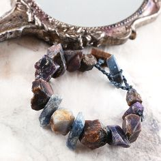 Crystal healing bracelet with raw Sapphire & Kyanite #crystal #healing #boho #bracelet