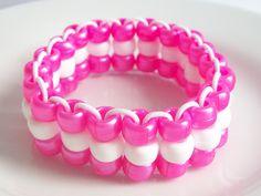 Pink & White Triple Strand Elastic Bracelet by Purple Wyvern Jewels