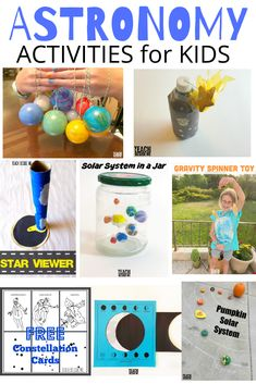 Fun kids astronomy activities for teaching~ space, solar system, moon phases, constellations and more! - Fun Kids Astronomy Activities for Teaching Solar System Projects For Kids, Solar System Activities, Space Activities For Kids, Preschool Activities, Solar System Kids, Space Facts For Kids, Space Kids, Astronomy Crafts, Astronomy Science