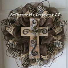 Rustic Cross Deco mesh Wreath by ADoorableCreations05 on Etsy, $79.00
