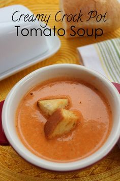 Crock Pot Creamy Tomato Soup Recipe Creamy tomato soup and a grilled cheese sandwich instantly transports me back to Saturday lunch time when I was a kid...yummy!  Toss these simple ingredients in the crock pot before you leave for work and soup will be ready and waiting when you come home! Now that it's done, just add the cream and butter. The immersion blender does a wonderful job of pureeing all of the ingredients. Crock Pot Creamy Tomato Soup Recipe Recipe Type: Brunch, Dinner, Slow C...