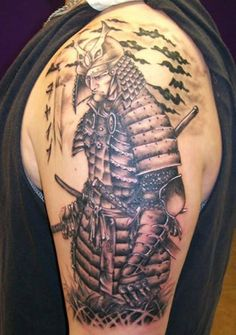 Left Half Sleeve Samurai Warrior Tattoo