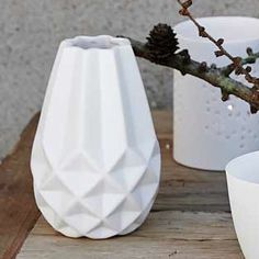 Bloomingville Small Geometric Vase: Geometric Shaped White Porcelain Vase by Bloomingville in Denmark. Beautiful design with or without flowers.