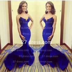 $159 27dress.com custom made Stylish Royal Blue Sweetheart Satin Evening Dress Brush Train Mermaid Formal Evening Gowns