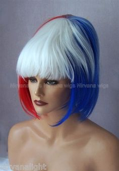 Red White Blue Beehive Chin Length Short Drag Queen Fun Mens/Womens Wig | eBay