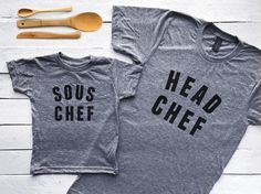Head Chef & Sous Chef Listing is a set; includes ONE adult tee and ONE toddler or youth tee.  Featured in bold, modern typography, these one-of-a-kind tee designs were designed with love and screen printed by hand. All artwork is original and printed on a high-quality, super soft American Apparel tee. Photographed in black ink on a heather gray t-shirt. The sweetest matching set for Moms or Dads and their little Sous Chefs. Makes a special, cozy gift for Mothers or Fathers Day! A tri-blen...