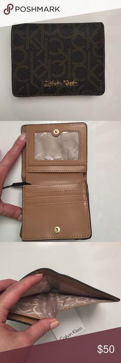 """NEW COLLECTION CALVIN KLEIN SMALL BIFOLD WALLET New collection Calvin Klein brown signature small bifold wallet. Cash, ID, card slots. Snap closure. Gold tone hardware details. Measurements: 4.5""""x3.5"""". Calvin Klein Bags Wallets"""