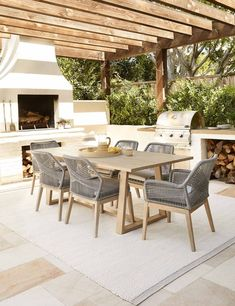 Outdoor Dining Chairs, Indoor Outdoor Rugs, Outdoor Rooms, Outdoor Areas, Outdoor Decor, Dining Area, Outdoor Living Spaces, Dining Room, Modern Outdoor Living