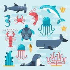 set of beautiful flat sea life royalty-free stock vector art