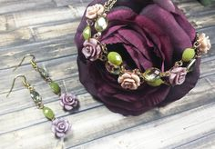 Enchanted Rose Earrings & Bracelet 2 pc set, Faerie, Woodland, Elven by TheeEnchantedChest on Etsy https://www.etsy.com/listing/493768681/enchanted-rose-earrings-bracelet-2-pc