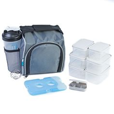 Homely Bliss Meal Prep Lunch Box Cooler All-in-One Kit Including an Insulated Lunch Bag, 6 Portion Control Containers, a 20 oz. Shaker Bottle, a Pill Box, and a FREE Ice Pack. - Specs: 1 Insulated lunch bag cooler (11.5'' x 6.5'' x 9.5''); four BPA free, microwave and top rack dish washer safe containers measuring 2 cups; two containers measuring 1 cup; a 20 ounce shaker bottle; a non toxic gel pack and a 5 compartment pill box. One of the biggest barriers for a healthy ...