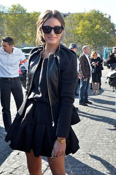Olivia Palermo great in black. Sunglasses