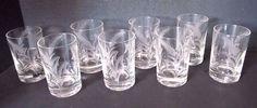 (8) Juice Glasses Beautifully Cut Wheat Stalk Design Vintage*