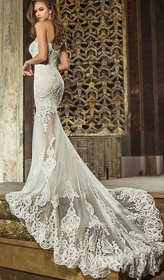 Strapless Embroidered Mermaid Style Tulle Wedding Dress