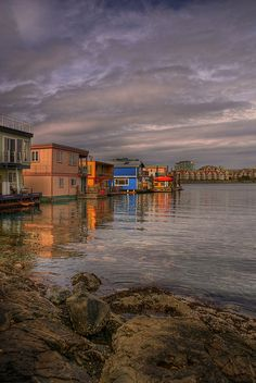 Colorful Houseboats on Fisherman's Wharf in Victoria, British Columbia - HDR