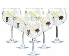 Stemmed Balloon Gin Glasses - Set of 6 - Serendipity Gifts Gin Balloon Glasses, Gin Glasses, Aesthetic Look, Gin And Tonic, Serendipity, Dinnerware, Wine Glass, Balloons, Cocktails