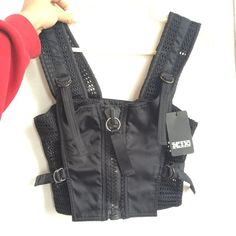 brand new never worn before ktz crop top with front zip (says size xS but I'm an S and it's still a bit big) adjustable straps RRP is £200 !! ktz #designer #croptop #kokontozai #rare #london #fashion #wavey #garms #sexy #black #zip #crop #top #mesh #cool
