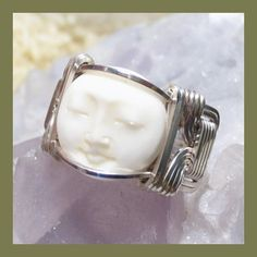 Bali Moon Face Silver Wire Wrap Ring