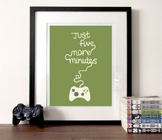 Gaming  quote Illustration print A3 version 2  by BearAndRobot, £14.00