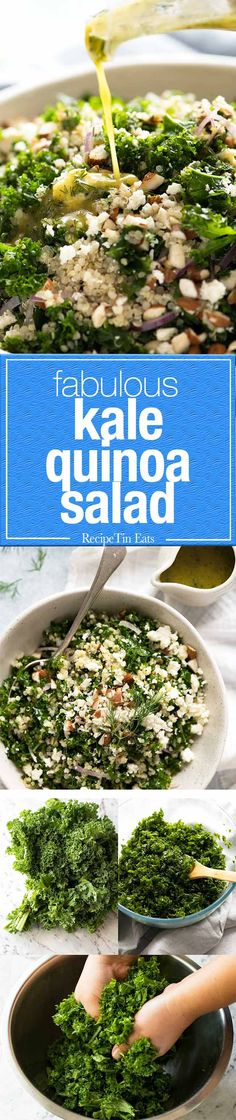 A fabulous yet simple Kale and Quinoa Salad - the dill and coriander/cilantro makes all the difference!