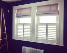 Combining blinds and shutters café style from our California range • #blinds #shutters #café #California #interior #design #interiordesign  #decorating #ideas #kidsroom #window #styling #windowdecor #instadecor #windowtreatments #instadesign #instastyle •