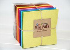 Wool Felt Squares  100 Wool Felt Bundle Pack  62 by CraftyWoolFelt, $29.35