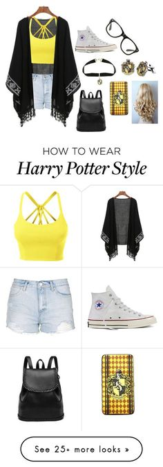 """Hufflepuff"" by crazybacon9 on Polyvore featuring Converse, Warner Bros., LE3NO and Topshop"