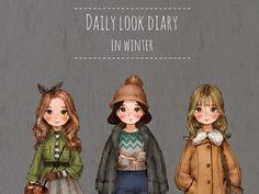 추운 겨울, 따뜻한 복장의 소녀들. In a cold winter, these outfits warmed the girls.
