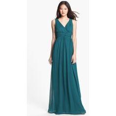 New Donna Morgan 'Julie' Twist-Waist Silk Chiffon Gown (Regular & Plus) Victorian Jade 8