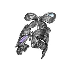 ASKILL bangle - black rhodium plated sterling silver with amethyst and blue topaz