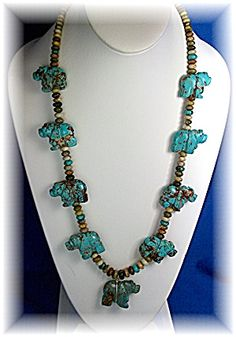 Native American Fetish Carver Stacey Turpin Handmade Turquoise and Sterling Silver Necklace. There are 9 Turquoise Bears and the necklace is 26 Inches with 1 3/4 inch Fetish's. The Beads are Turquoise and Agate.