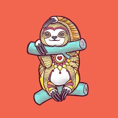 Mandala Sloth by Theysaurus. Stickers, tees and prints available here: http://www.redbubble.com/people/theysaurus/works/20011266-mandala-sloth