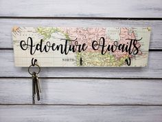 Christmas Presents, Holiday Gifts, Wooden Key Holder, Real Estate Gifts, Cup Hooks, Key Rack, Adventure Awaits, Vacation Trips, House Warming