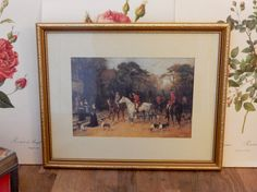 A lovely Vintage Hunting Scene Picture in Frame, Shabby chic, Retro , boho, Old picture. by Route46Vintage on Etsy