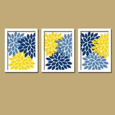 Flower Wall Art Navy Blue Yellow Bedroom Canvas Or Print Bathroom Decor Fl Kitchen Artwork Set Of 3