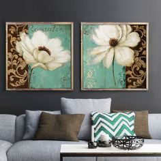 Emerald Green and white poppy flower oil painting canvas prints home decor bedroom office pictures for living room cuadros