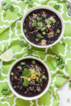 The easiest crock-pot black bean soup ever! This Crock-Pot Black Bean Soup takes just minutes to prepare and is packed with fresh ingredients. Slow Cooker Recipes, Crockpot Recipes, Cooking Recipes, Yummy Recipes, Advocare Recipes, Mexican Recipes, Dinner Recipes, Dessert Recipes, Healthy Recipes