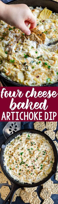 This easy cheesy Four Cheese Baked Artichoke Dip is gloriously gluten-free and perfect for holiday entertaining with a bag of tasty Crunchmaster crackers @crunchmaster #sponsored