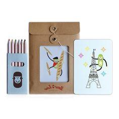 Kit de cartes postales à colorier Paris Wisitworld