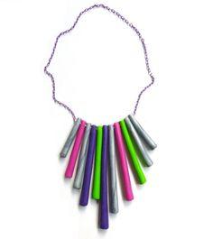 vivid handmade polymer clay necklace