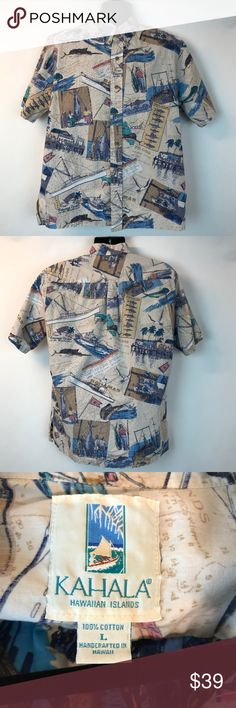 "Kahala Button  Shirt Hawaiian Island Men L Fishing Kahala Button Front Shirt Hawaiian Islands Men Large L Summer Cotton Sharks Short  sleeves Colors: Beige / Multi colors Armpit to armpit: 24"" Length: 28"" 100% Cotton Good clean condition. Kahala Shirts Casual Button Down Shirts"