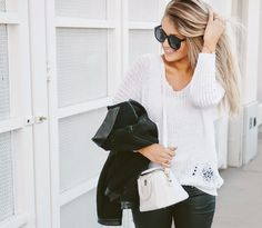 Cara Loren's cool monochrome outfit. Wearing the Colette gold bangle