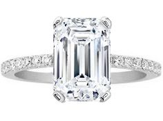 Emerald Cut White Gold Diamond Engagement Ring Pave Band - ES1035ECWG