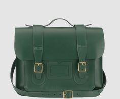 Dr Martens SCHOOL SATCHEL GREEN SMOOTH LEATHER - Doc Martens Boots and Shoes