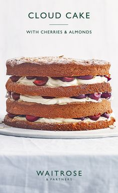 Looking for an inspirational showstopper cake to bake? Try our cloud cake filled with juicy cherries and almonds. This impressive tiered cake is oozing with creamy icing. Tap for the full Waitrose & Partners recipe. Baking Recipes, Cake Recipes, Dessert Recipes, Cupcake Cakes, Mini Cakes, Cupcakes, Waitrose Food, Cloud Cake, Delicious Desserts