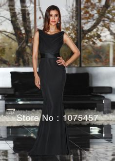 Elegant Black Bridesmaid Dresses Chiffon High Collar Pleat Sashes Spaghetti Straps Floor Length Free Shipping JB290