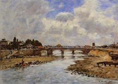 Laundresses on the Banks of the Touques - Eugene Boudin  .Completion Date: c.1887.